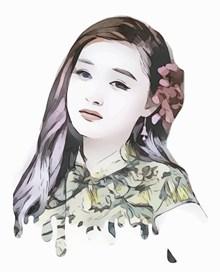 旗袍美女卡通手绘高清图片