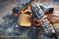木柴堆燃烧火苗图片