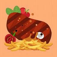 卡通矢量牛排薯条番茄图片素材