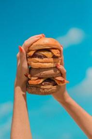 蓝天白云双层汉堡图片大全