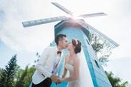 亚洲情侣清新婚纱照图片素材