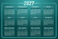 2027年蓝色日历图片下载