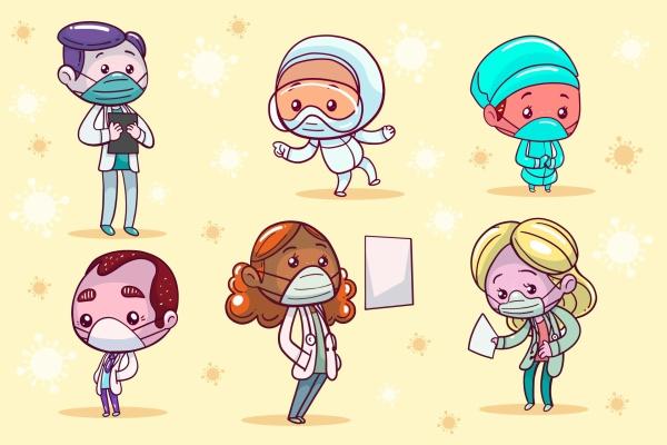 戴口罩卡通医生图片