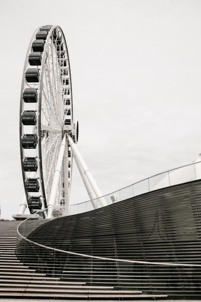 摩天轮黑白摄影图片素材