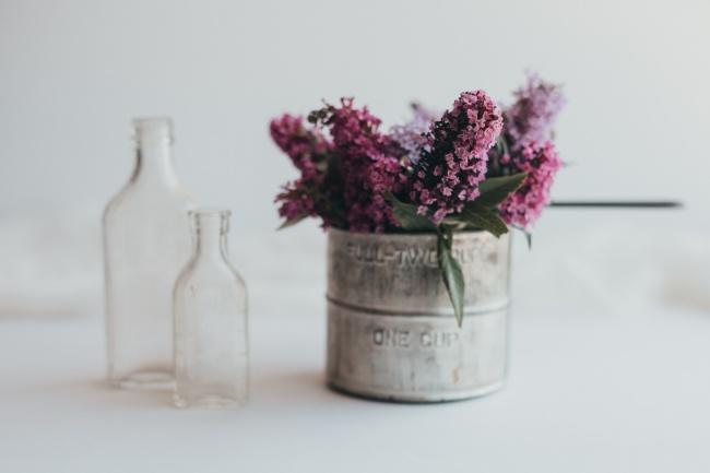 空瓶子和风信子高清图片