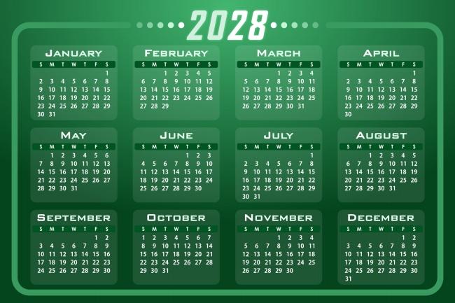 2028全年日历图片