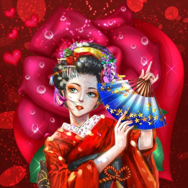 日本和服美女动漫图片素材
