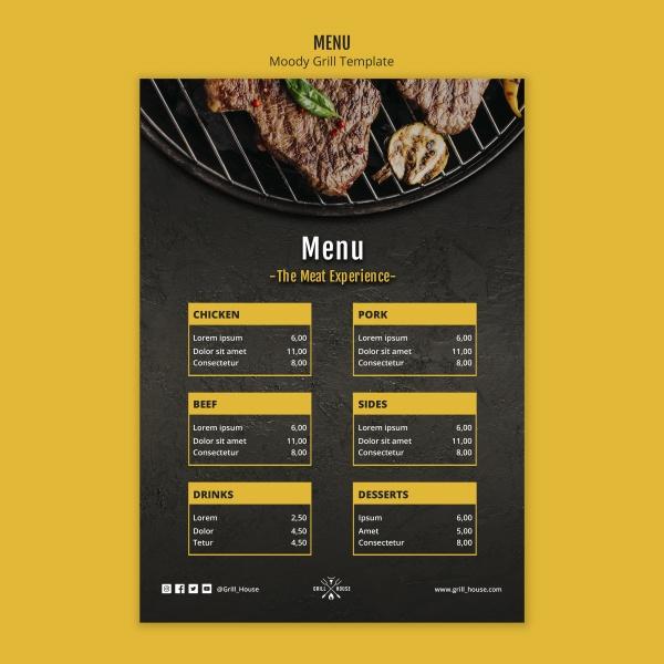 西餐牛排价目表模板psd下载