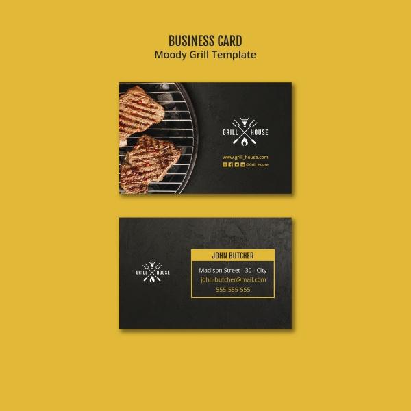 西餐牛排店名片模板psd分层素材