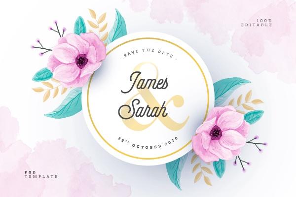 婚礼卡片设计psd免费下载