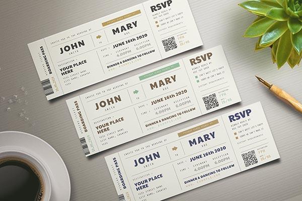 登机牌设计风格的婚礼邀请函模板psd下载