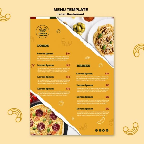 意大利食品菜单模板免费Psdpsd分层素材