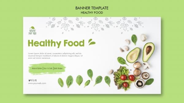 健康食品横幅模板免费psd免费下载
