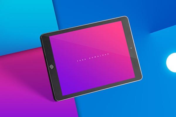 浮动的黑色iPad样机psd图片