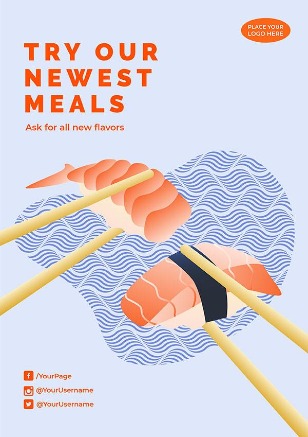 手绘寿司海报模板设计psd图片