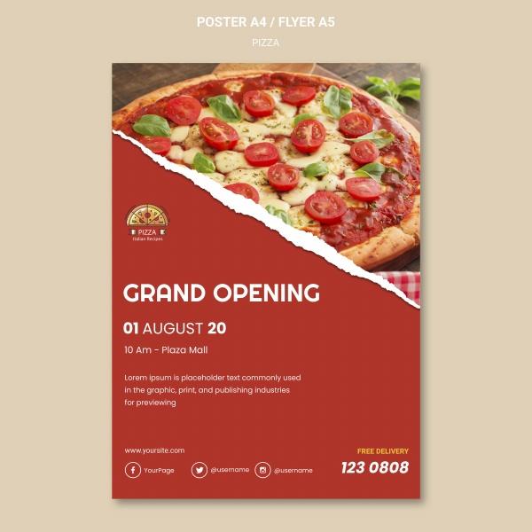 披萨餐厅海报模板psd图片