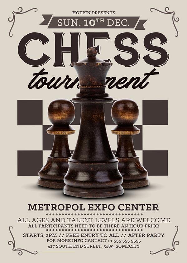 国际象棋比赛海报psd下载