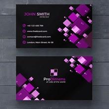 紫色几何图案名片设计源文件psd图片