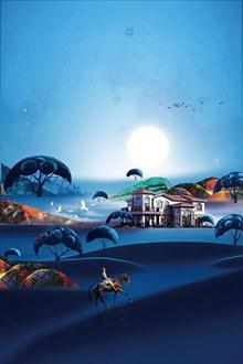 蓝色高端别墅房地产背景设计psd分层素材