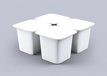 四连杯酸奶包装效果图样机设计模板psd素材
