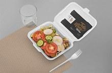 蔬菜沙拉外卖饭盒设计样机模板psd素材