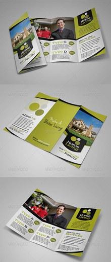 房地产租赁销售主题三折页广告模板psd下载
