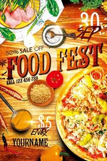 披萨美食海报设计模板psd下载
