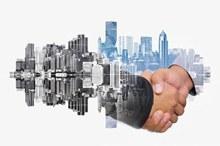 商务人士与城市景色psd分层素材