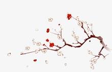 水墨桃花花枝分层素材