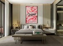 现代卧室床头装饰画样机psd免费下载