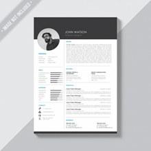黑白简历模板免费psd分层素材