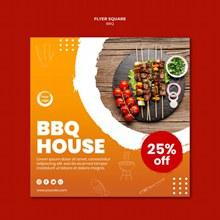 BBQ美食促销宣传单模板分层素材