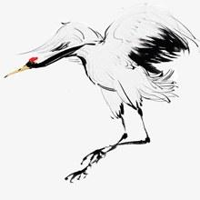 手绘中国风水墨鹤插画分层素材