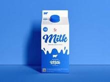 免费牛奶盒包装样机psd免费下载