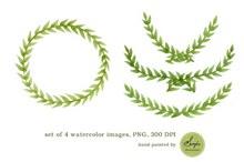 水彩橄榄枝框架插画psd图片