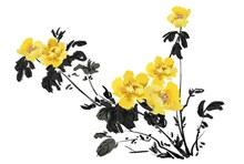 中国风水墨牡丹花设计psd图片
