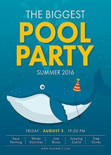 夏日游泳池派对海报psd图片