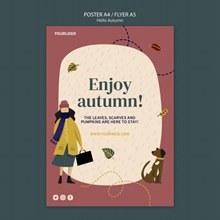 享受秋天海报设计psd分层素材