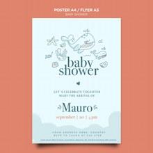 婴儿淋浴庆祝海报模板psd免费下载