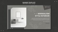极简室内设计横幅模板psd下载