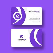 紫色创意名片模板psd下载