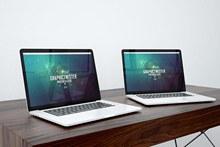 两台MacBookpro产品样机psd图片