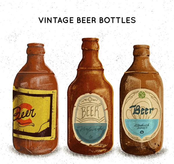 复古瓶装酒类设计矢量图
