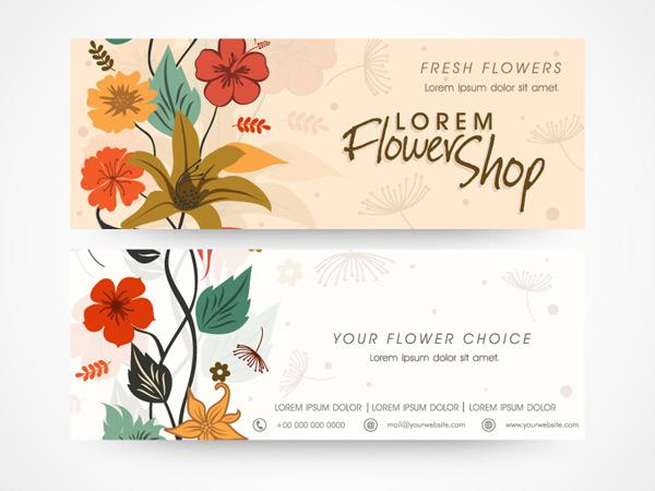 彩色花卉商务卡片矢量图片