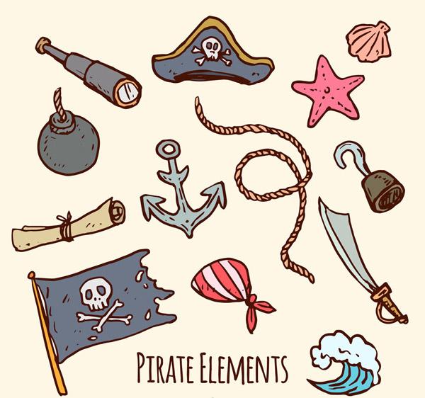 13款彩绘海盗元素矢量