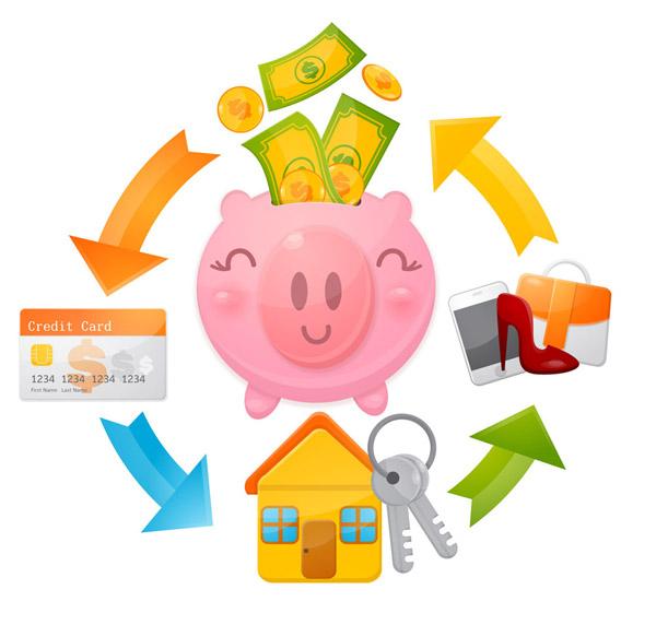 卡通猪储蓄罐和金融元素圆环矢量下载