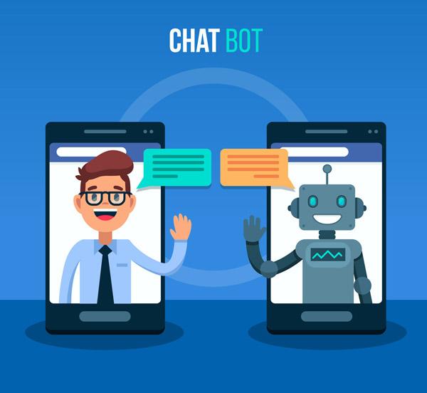 创意手机上对话的男子和聊天机器人图矢量图片
