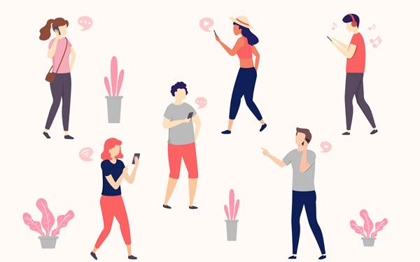 6款创意玩手机人物矢量图下载