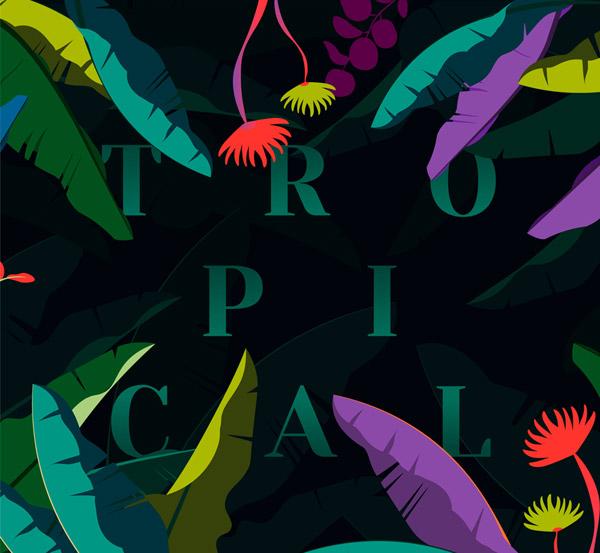 彩色树叶热带艺术字矢量图片