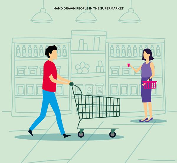 手绘超市购物的人物矢量图下载
